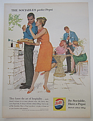 1960 Pepsi-Cola (Pepsi) with Woman Giving Man Hamburger (Image1)