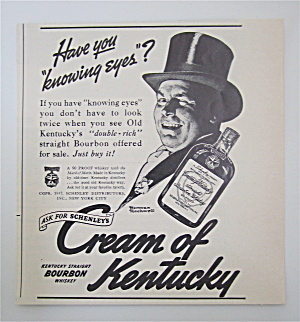 1937 Cream Of Kentucky Whiskey With A Man In A Top Hat