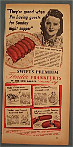 Vintage Ad: 1941 Swift Frankfurts W/ Mrs. Paul Whiteman