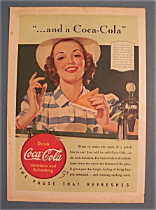 1940 Coca-cola (Coke) With Woman Holding Sandwich