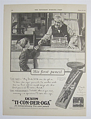 1926 Dixon Ticonderoga With Man Giving Pencil To Boy