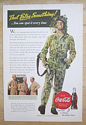 1943 Coca-cola With Soldier Walking With Gun