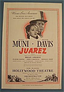 Vintage Ad: 1939 Movie Ad for Juarez (Image1)