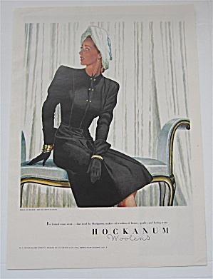 1946 Hockanum Woolens With Lovely Woman In Black Dress