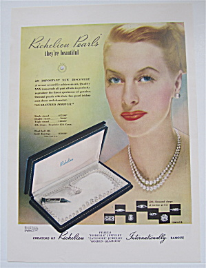 1946 Richelieu Pearls with Woman Wearing Pearls  (Image1)