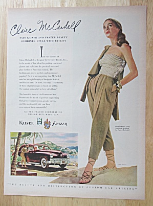 1948 Kaiser Fraser Automobile With Claire Mccardell