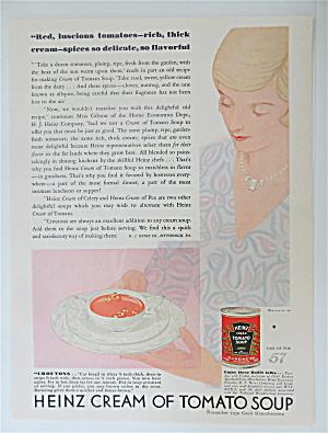 1930 Heinz Cream Of Tomato Soup w/ Woman & Bowl Of Soup (Image1)