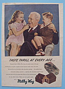 1948 Milky Way Candy Bar With Children On Grandpa's Lap