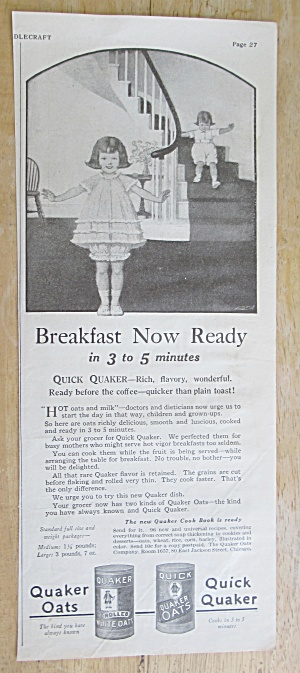1925 Quick Quaker Cereal with Child Coming Downstairs  (Image1)