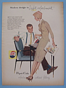1957 Pepsi-cola (Pepsi) W/man & Woman Enjoying Pepsi
