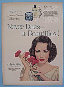 Vintage Ad: 1957 Lustre-Creme Shampoo w/Liz Taylor (Image1)