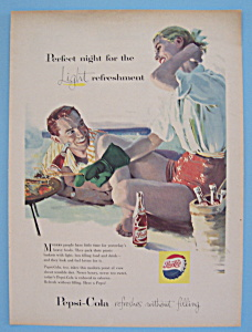 1957 Pepsi-cola (Pepsi) W/man & Woman Cooking On Beach