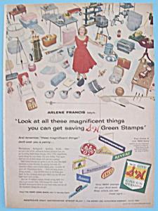 Vintage Ad: 1957 S & H Green Stamps w/ Arlene Francis (Image1)