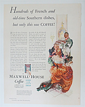 1930 Maxwell House Coffee W/man Serving A Couple