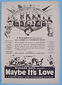 Vintage Ad: 1930 Maybe It's Love w/ Joe E. Brown (Image1)