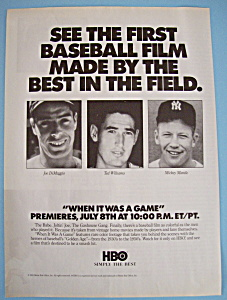 Vintage Ad: 1991 Hbo W/ Dimaggio, Williams & Mantle