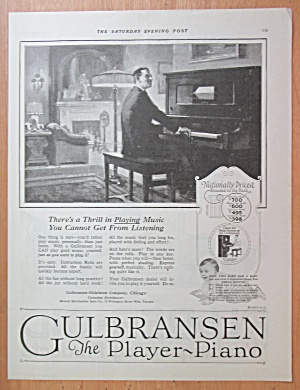 1923 Gulbransen Player Piano With Man Playing Piano