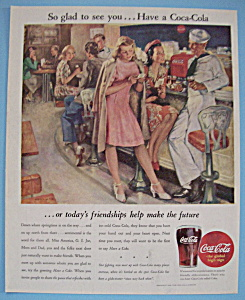 1945 Coca-cola (Coke) With Two Women Talking To Sailor