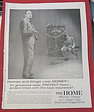 Vintage Ad: 1957 Home Insurance with Jack Benny (Image1)