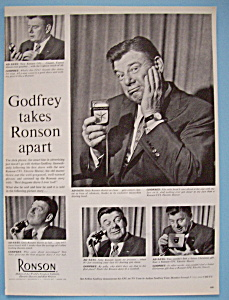 Vintage Ad:1958 Ronson Electric Shaver w/Arthur Godfrey (Image1)