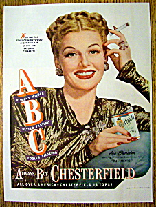 Vintage Ad: 1947 Chesterfield Cigarettes w/Ann Sheridan (Image1)