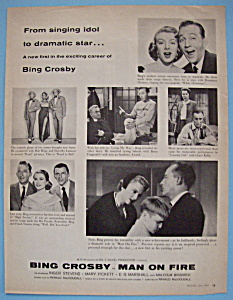 Vintage Ad: 1957 Man On Fire w/ Bing Crosby (Image1)