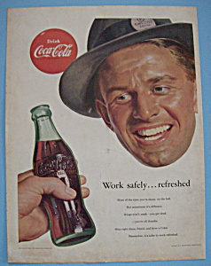 1953 Coca-cola With Man Looking At Bottle Of Coke