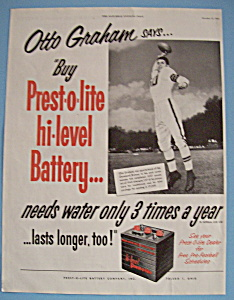 Vintage Ad: 1953 Prest-O-Lite Battery w/Otto Graham (Image1)