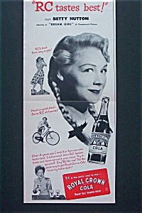 Vintage Ad: 1940's Royal Crown Cola With Betty Hutton