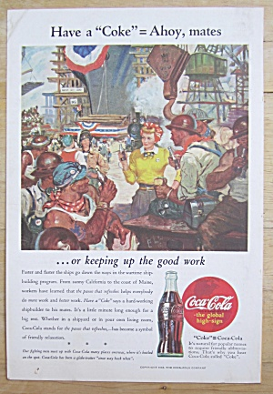 1944 Coca-cola (Coke) With Woman Talking To Workers