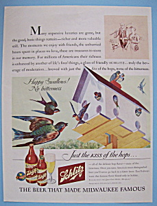1943 Schlitz Beer with Birds & their Birdhouse (Image1)