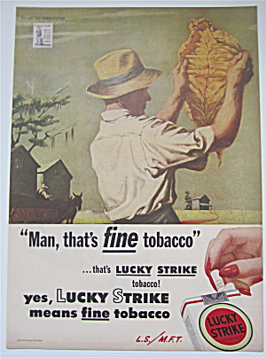 1944 Lucky Strike Cigarettes w/ Man Inspecting Leaf  (Image1)