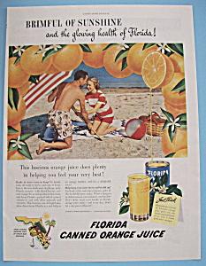 Vintage Ad: 1949 Florida Canned Orange Juice (Image1)