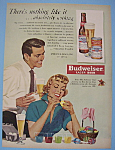 1950 Budweiser Lager Beer with Woman Painting Eggs (Image1)
