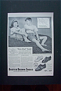 1950's Buster Brown Shoes with Boy & Girl Sitting  (Image1)