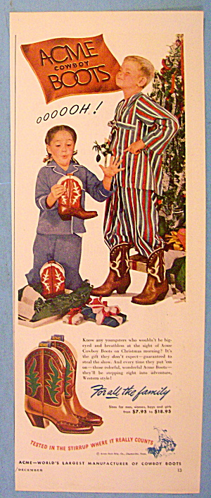 1948 Acme Cowboy Boots w/Children Opening Boots By Tree (Image1)