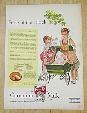 1945 Carnation Milk With Girl Walking Baby In Stroller