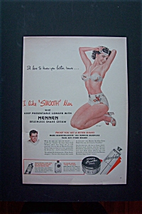 1954 Mennen Brushless Shave with Woman in Bathing Suit  (Image1)