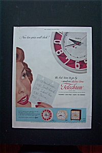1954 Telechron With Woman Looking At Clock