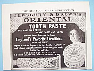 Vintage Ad:1906 Jewsbury & Brown's Oriental Tooth Paste (Image1)