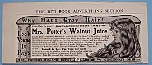 Vintage Ad: 1905 Mrs. Potter's Walnut Juice (Image1)