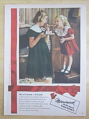 1950 Merrimack Velveteen with Girl Feeding Little Girl  (Image1)
