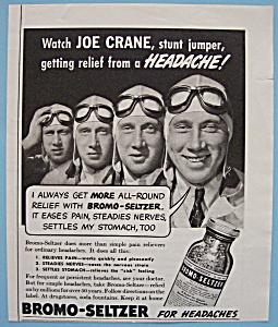 Vintage Ad: 1940 Bromo - Seltzer w/ Joe Crane (Image1)