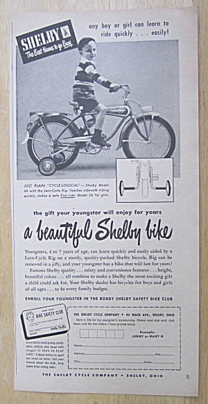 1950 Shelby Bicycles With A Boy On The Cycle Logical