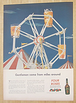 1945 Four Roses Whiskey w/ Whiskey Glass Ferris Wheel (Image1)