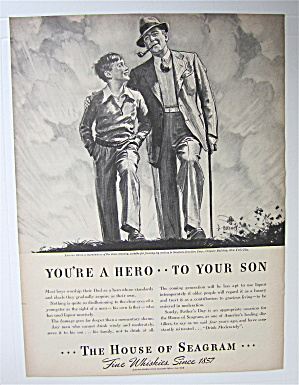 1938 House Of Seagram Whiskey W/ Man & Boy Walking