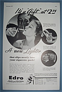 Vintage Ad: 1937 Edro Lighter & Pack Holder