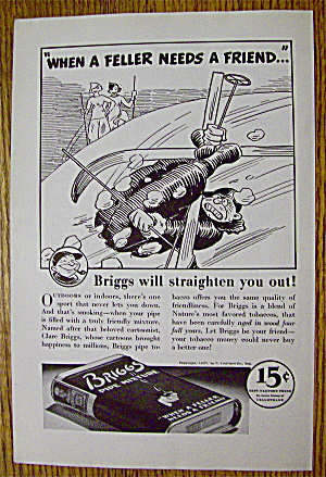1937 Briggs Pipe Mixture With Man Falling While Skiing