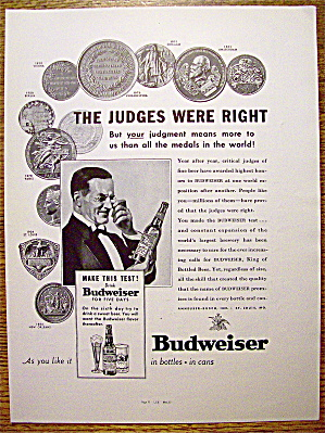 1937 Budweiser Beer with Man Looking at Bottle of Beer (Image1)