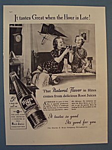1937 Hires Root Beer With Two Women Tapping Glasses